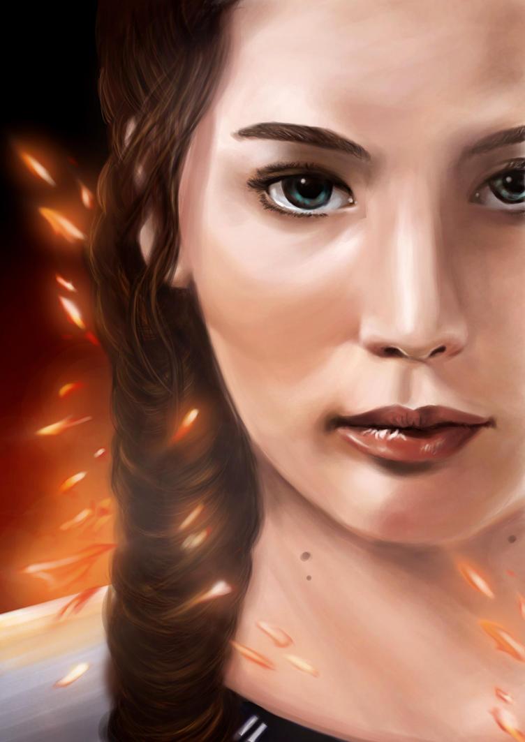The Girl On Fire (Lovely Katniss Everdeen) by HeronArt