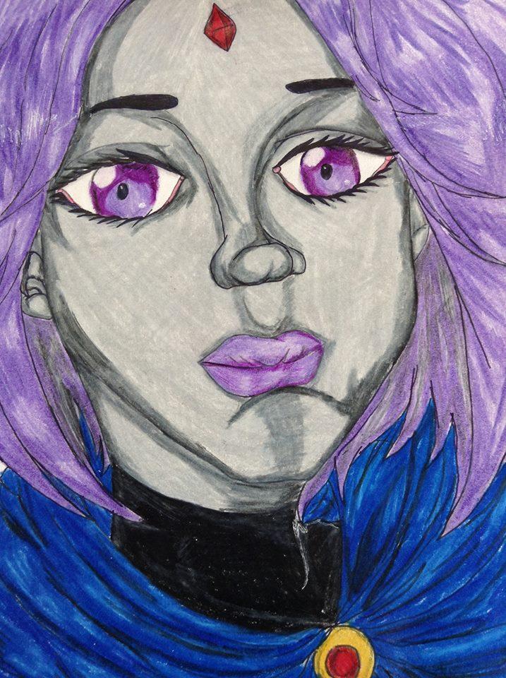 Raven Portrait - Coloured by lokiiyu