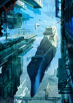 Battleship entering city