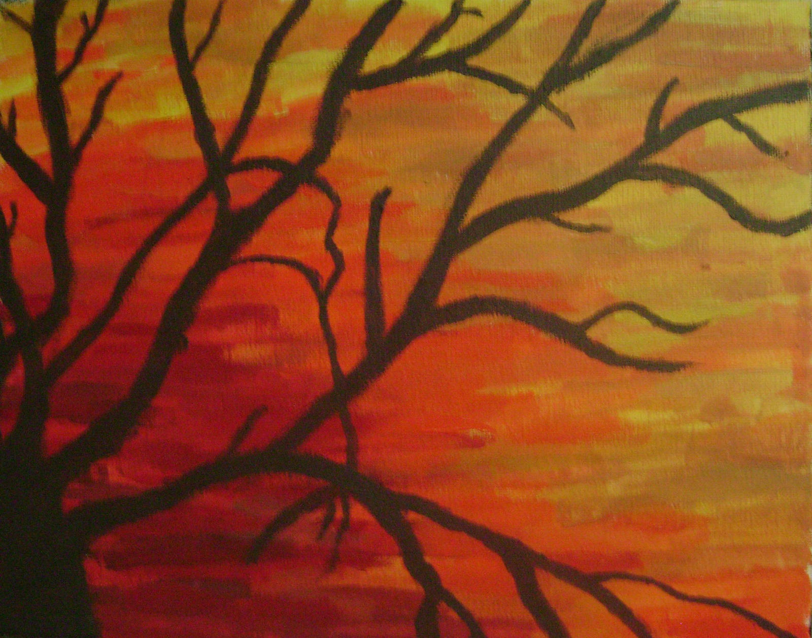 Silhouette Tree Oil Painting By Pokey274