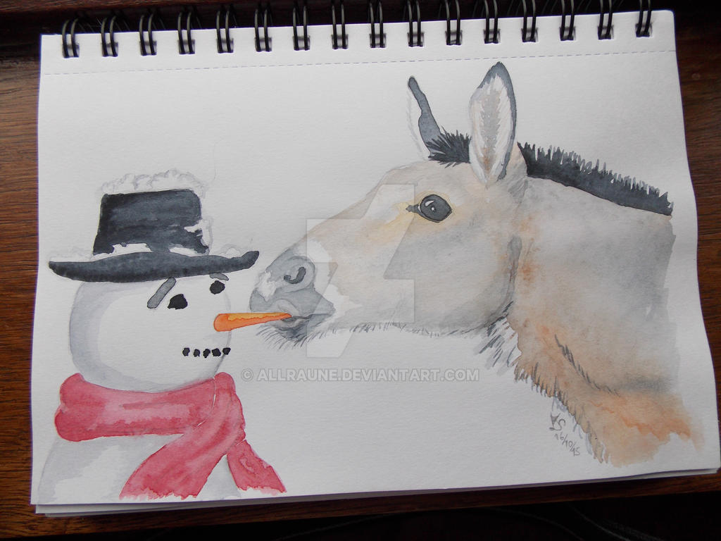 donkey and snowman by Allraune