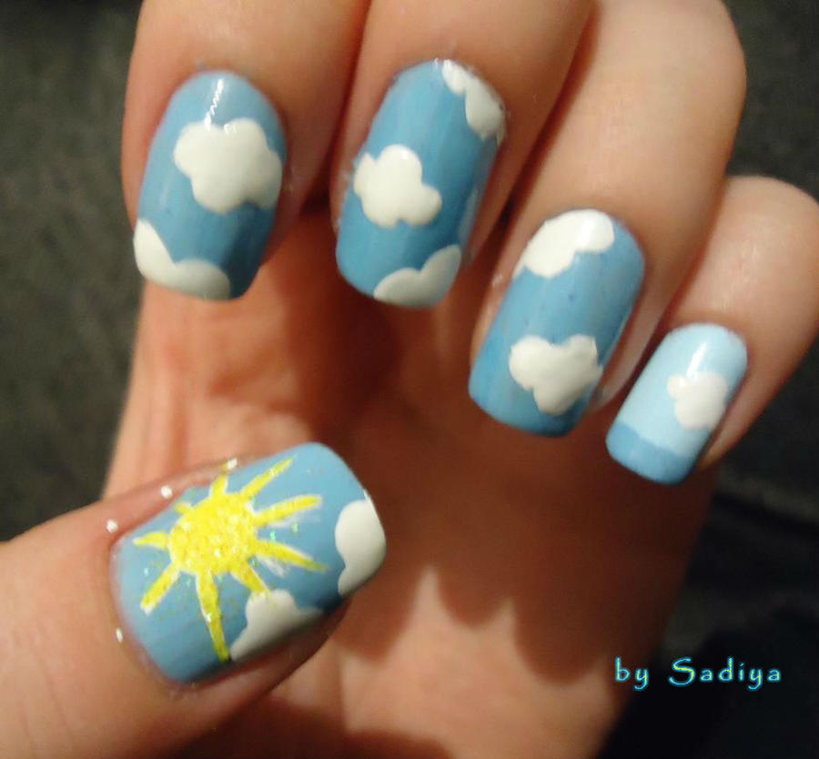 Sky Sun Clouds Nail Art By Sadiya By Sayanecw On Deviantart