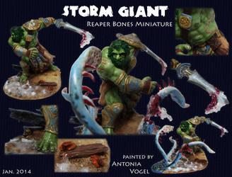Storm Giant killing the Kraken (Reaper Bones Mini)