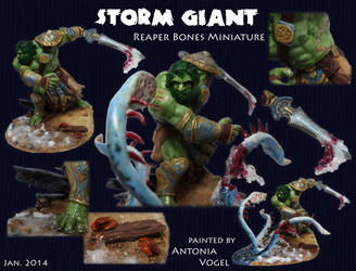 Storm Giant killing the Kraken (Reaper Bones Mini) by withclawsandfangs