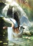 Angel And Waterfall