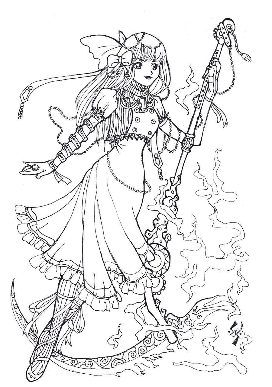 Free Lineart Steampunk Lolita By Kungfubellydancer On