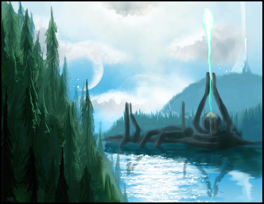 Halo Landscape Quick-Sketch by kungfubellydancer