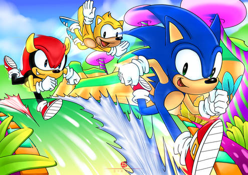 Mighty and Ray with Sonic