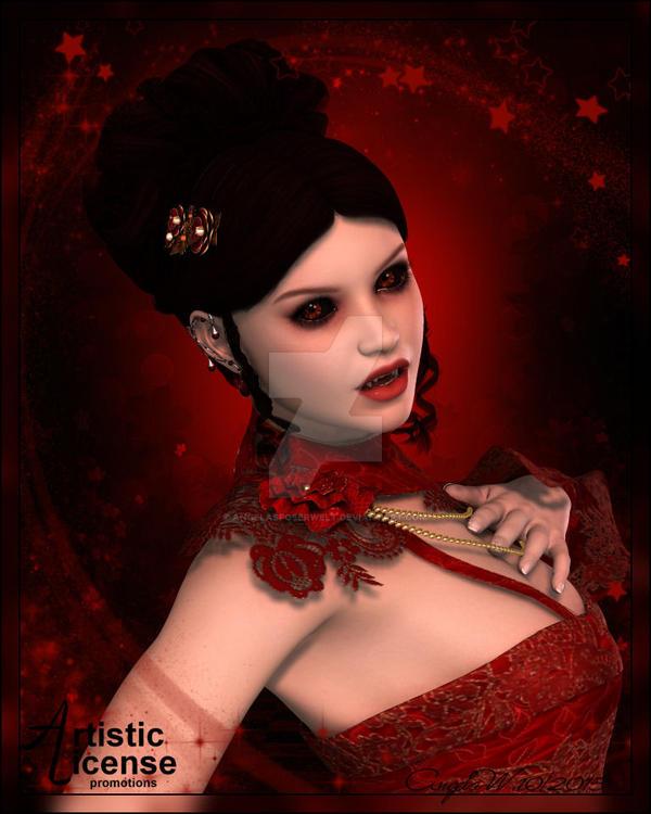 Red Vampire Lady by angelasposerwelt