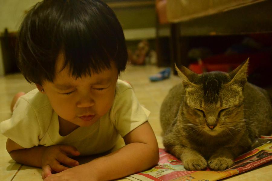 Baby and Cat by harukazebanri