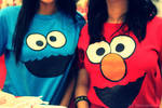 Cookie Monster and Elmo.