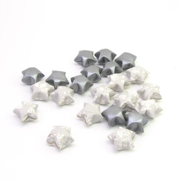 silver origami good luck stars by offgenemi