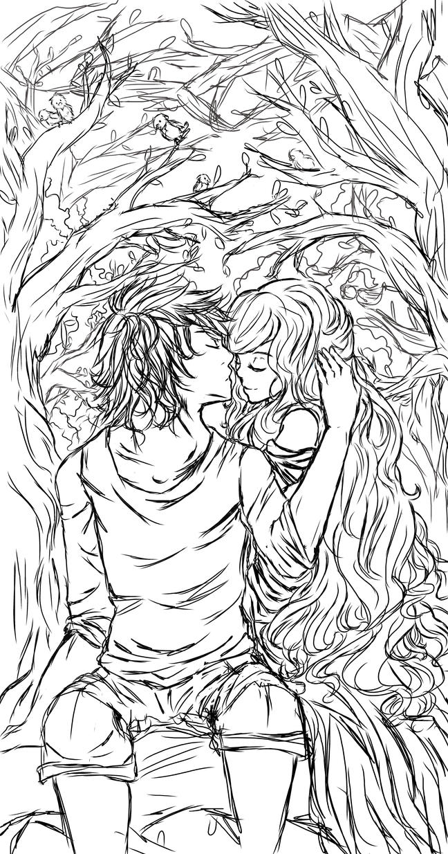 Line Art Nature : Nature lovers line art by blacknightstar on deviantart