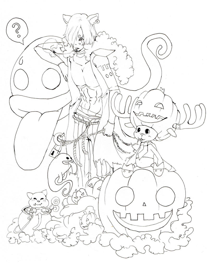 Lineart one piece halloween by BlackNightStar