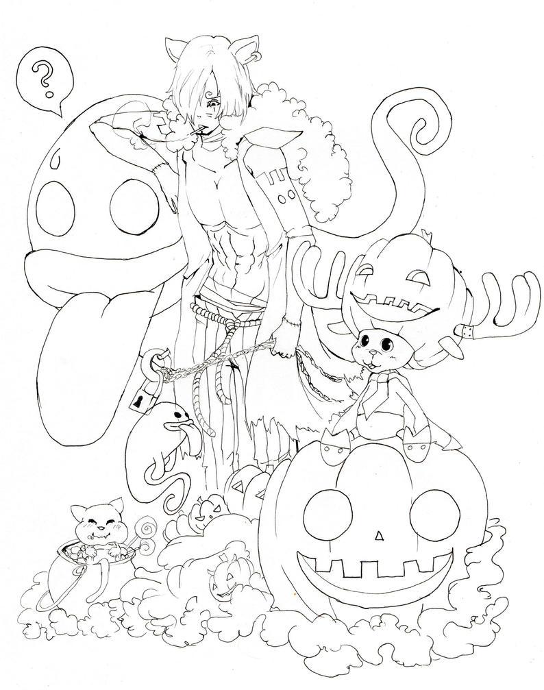 Lineart one piece halloween by BlackNightStar