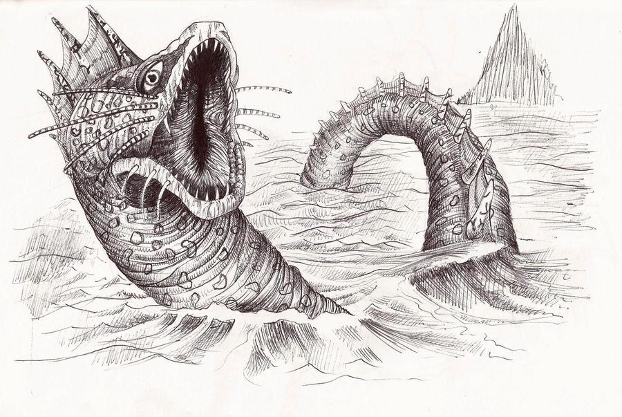 Line Drawing Monster : Deltora quest sea monster by j rayner on deviantart