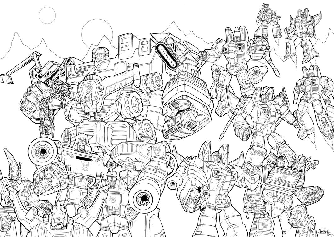 Transformers decepticons coloring pages coloring pages - The Decepticons Lines By J Rayner On Deviantart