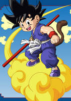 Kid Goku and Nimbus by eggmanrules
