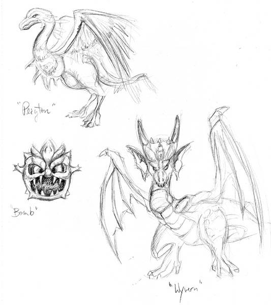 FF Monsters Sketch by trickypink