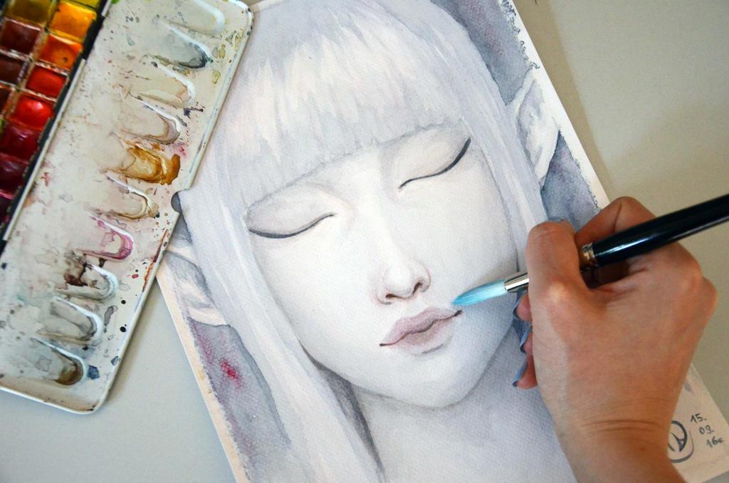 Elf watercolor painting by Anastasja-A-Art
