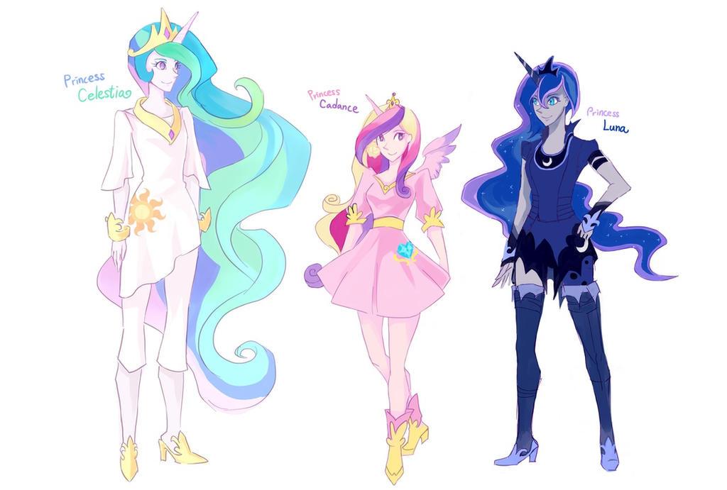 Human Princesses(Celestia, Cadence, Luna) by ...