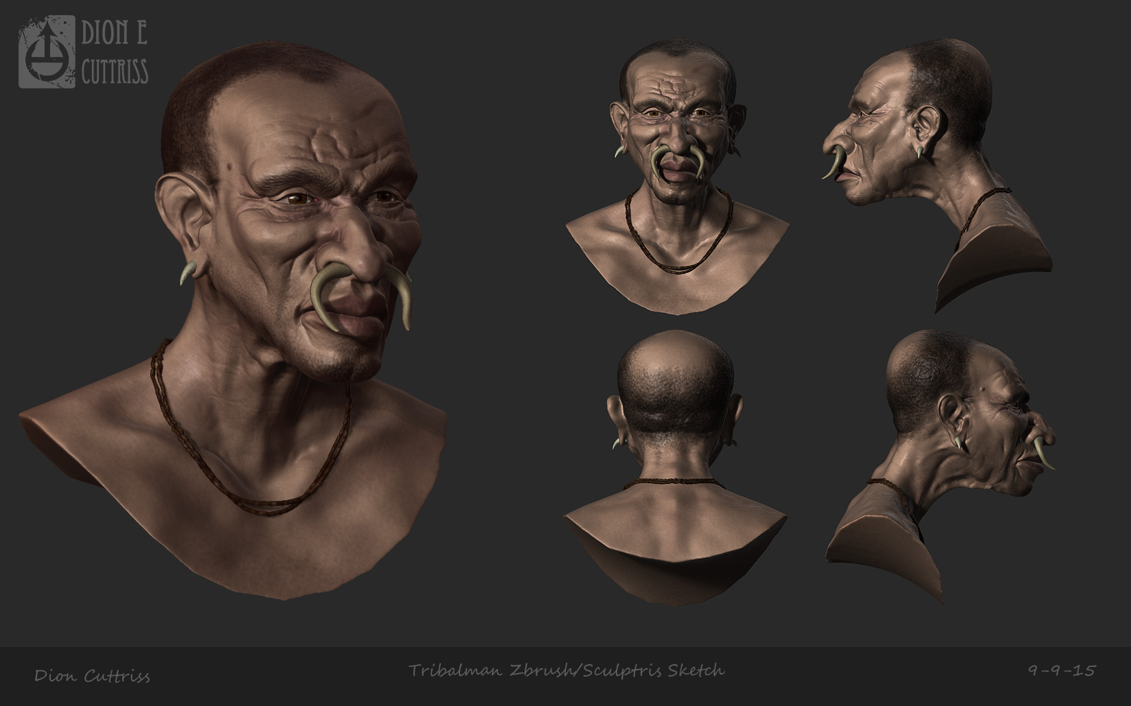 Tribalman Caricature - Zbrush/Sculptris Sketch by thadeemon
