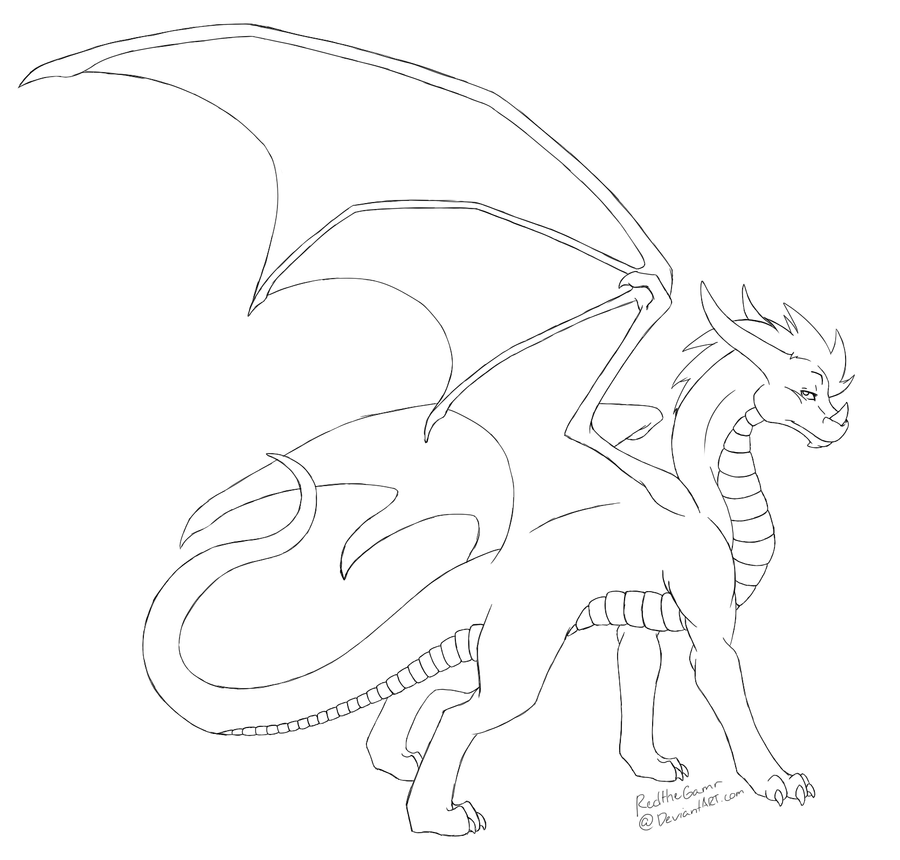 Dragon Lineart : Dragon lineart by redthegamr on deviantart