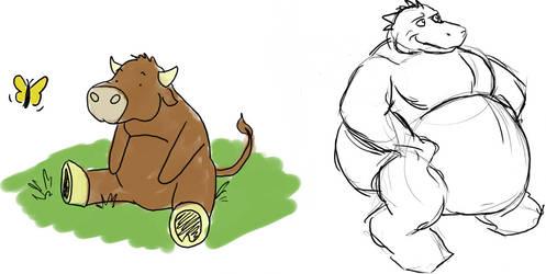 Little bull and chubby dragon