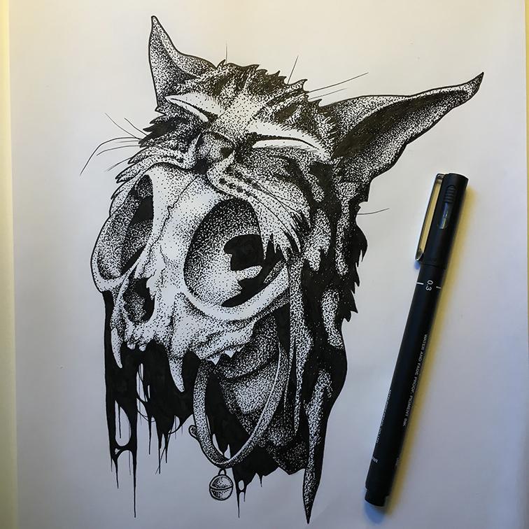 Morbid Kitty - Dotwork by olliebott