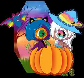 lisa frank halloween by rachelneko