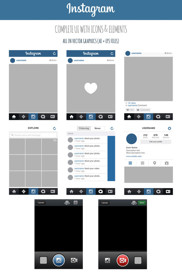 FREE Instagram Complete Vector UI by MarinaD on DeviantArt