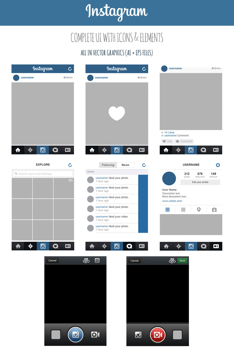 free instagram complete vector ui by marinad on deviantart. Black Bedroom Furniture Sets. Home Design Ideas
