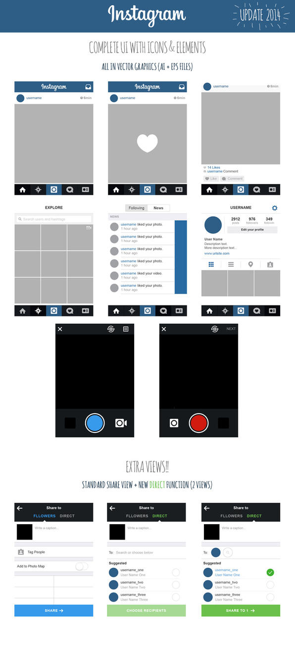 Vector Illustration Instagram: FREE Instagram Complete Vector UI 2014 By MarinaD On