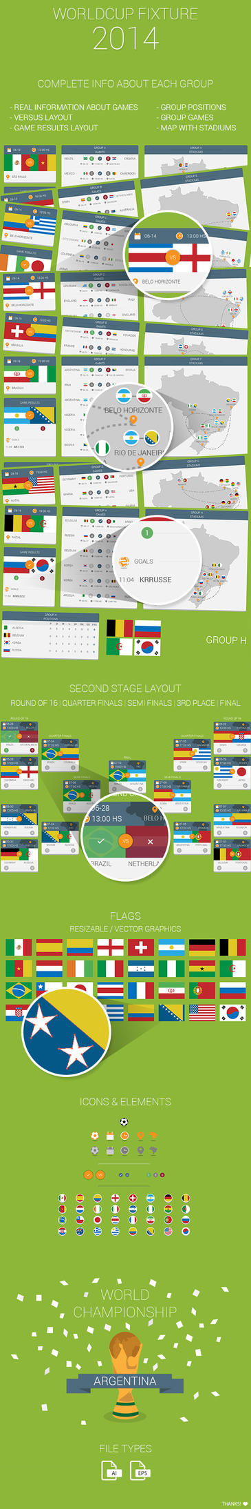WorldCup Brasil 2014 Fixture and Flat UI by MarinaD