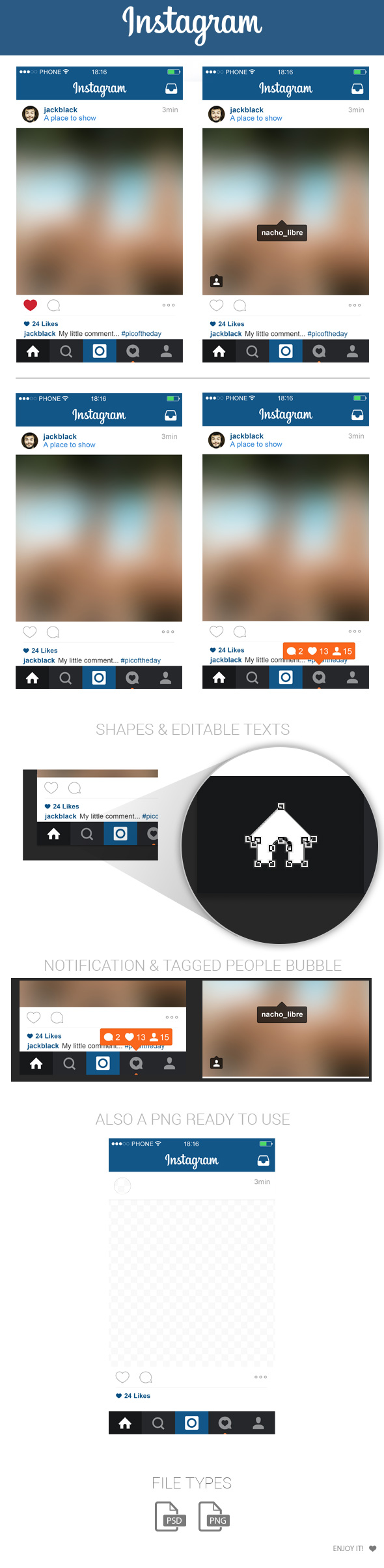 free instagram home layout ui psd may 2015 by marinad