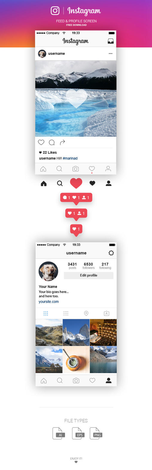 free instagram feed and profile screen ui 2016 by marinad