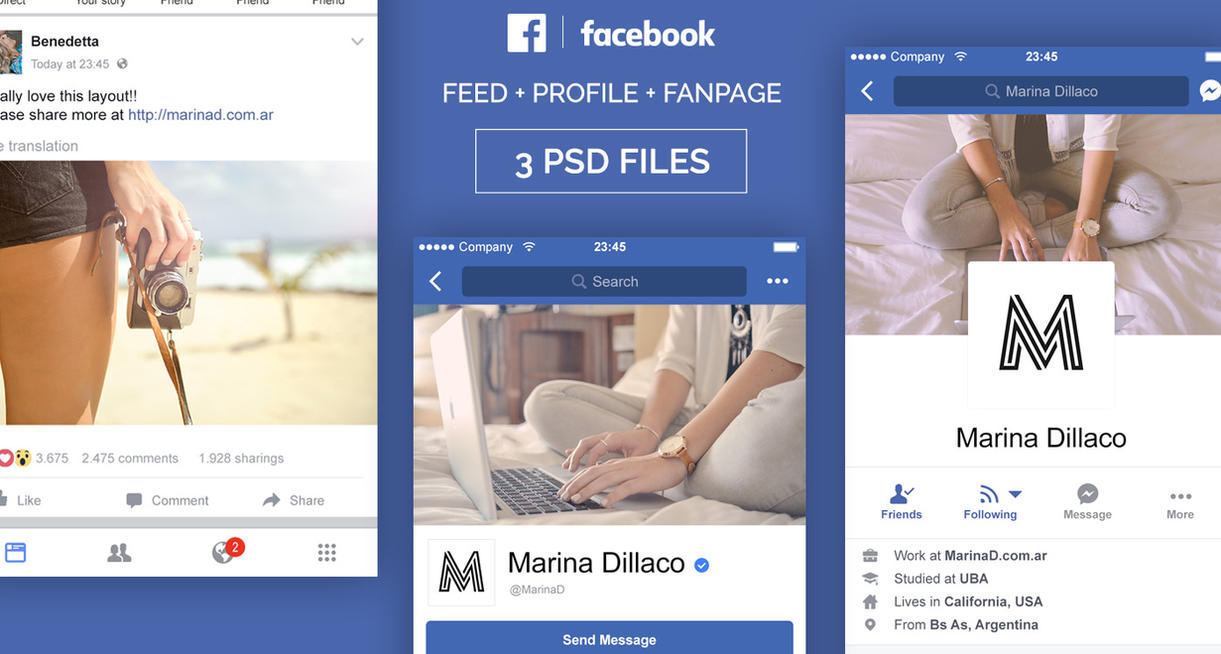 FREE Facebook Mobile FanPage, Feed and Profile PSD by MarinaD