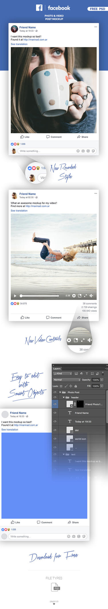 FREE Facebook Post Mockup - 2018 by MarinaD