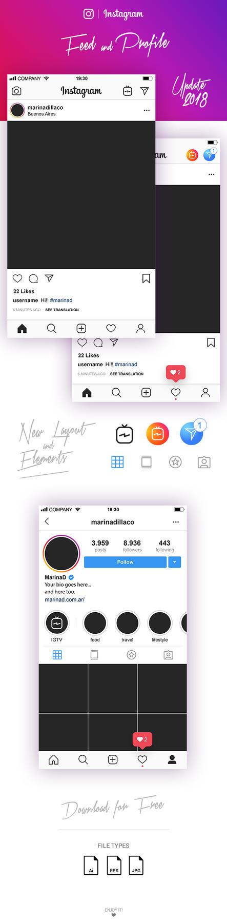 FREE Instagram Layout Feed and Profile UI 2018 by MarinaD
