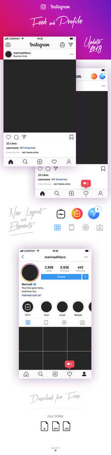 FREE Instagram Layout Feed and Profile UI 2018