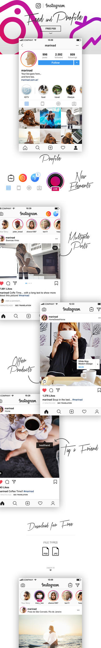 FREE PSD Instagram UI 2018 by MarinaD