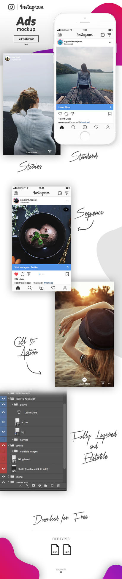 FREE Instagram Ads Mockup 2018 by MarinaD