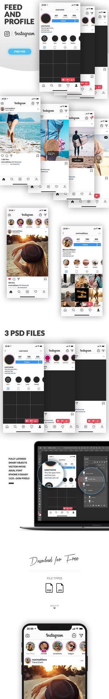 Instagram Mockup Feed and Profile in PSD by MarinaD