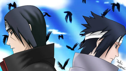 Uchiha Itachi and Uchiha Sasuke by Kazemye