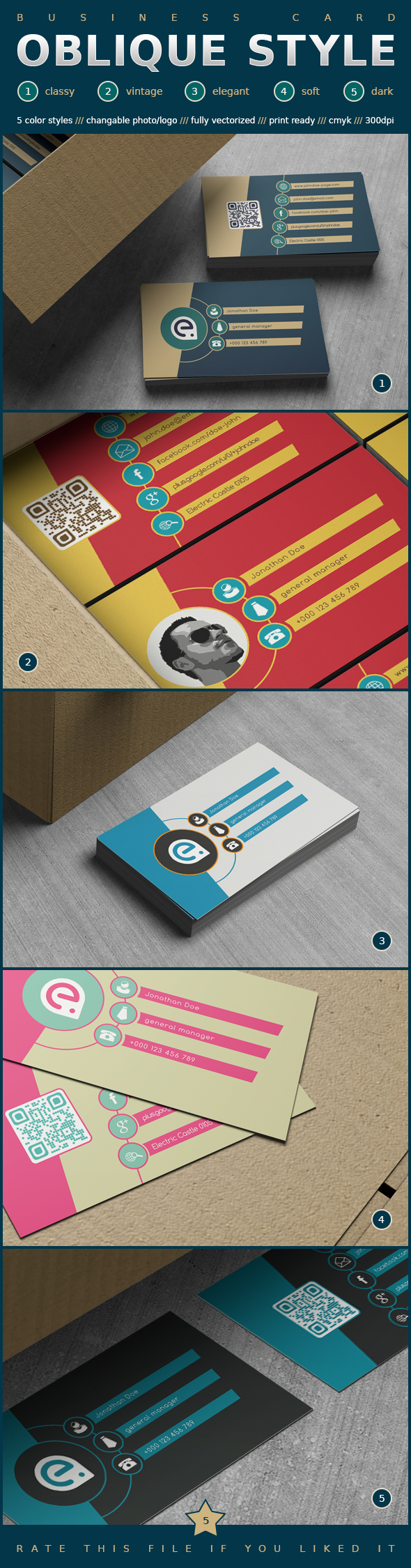 Oblique Style Business Card by elddes