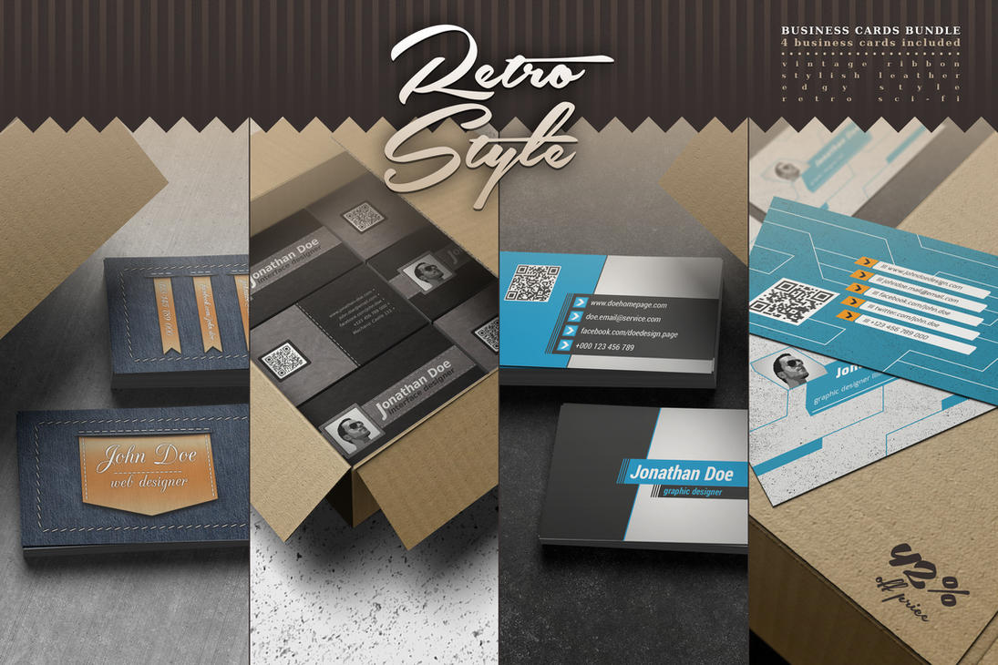 Retro Style Business Cards Bundle by elddes