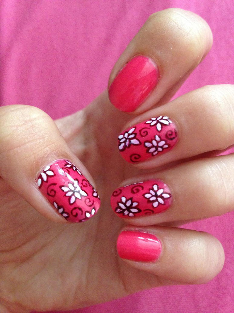 Pink Flower Nail Art by xRixt on DeviantArt