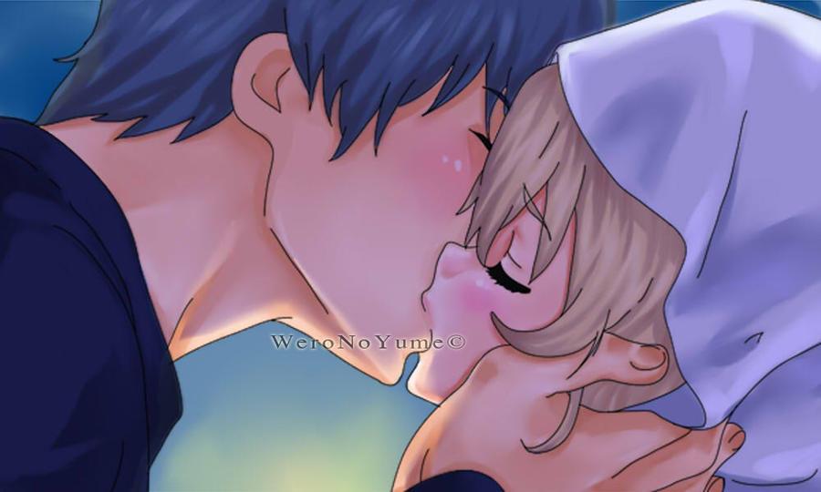 Toradora colorize. Ryuuji and Taiga kiss. by WeroNoYume