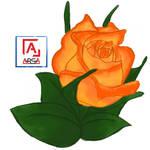 Orange Roses flower illustration