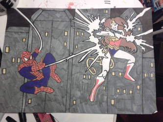 WonderWoman Vs Spiderman by XxCrystalRocksxX